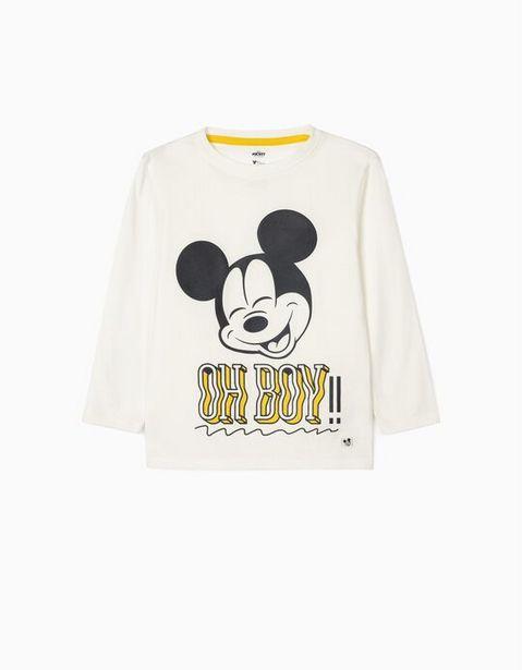 Oferta de Camiseta de Manga Larga para Niño 'Mickey Oh Boy!', Blanco por 12,99€
