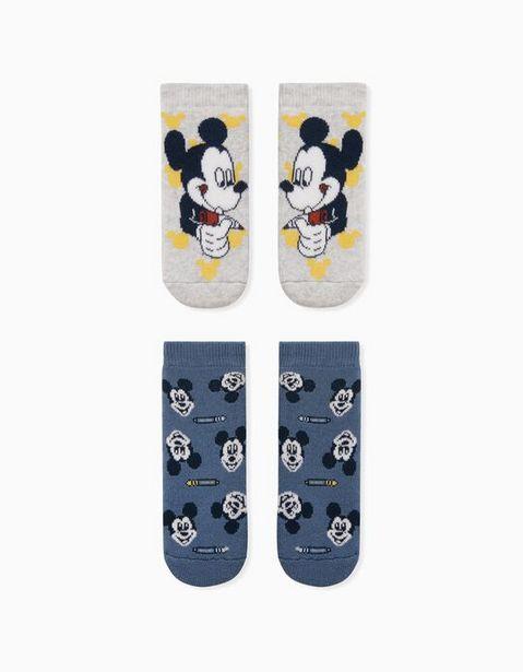 Oferta de 2 Pares de Calcetines Antideslizantes Bebé Niño 'Mickey', Gris/Azul por 6,99€