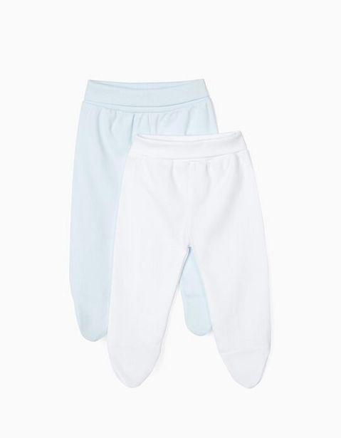 Oferta de 2 Pantalones con Pies para Recién Nacido, Blanco y Azul por 7,99€