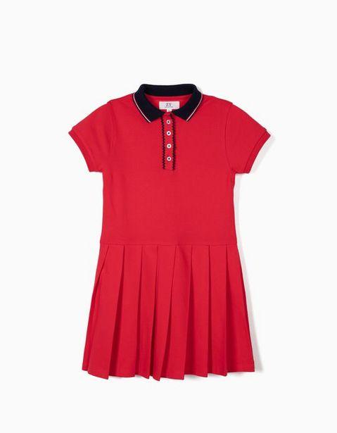 Oferta de Vestido Piqué para Niña, Rojo por 14,99€