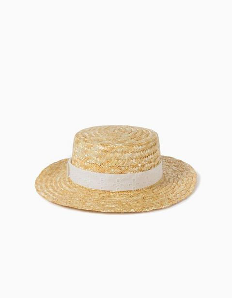Oferta de Sombrero de Paja Bordado Inglés para Niña, Beige por 2,99€