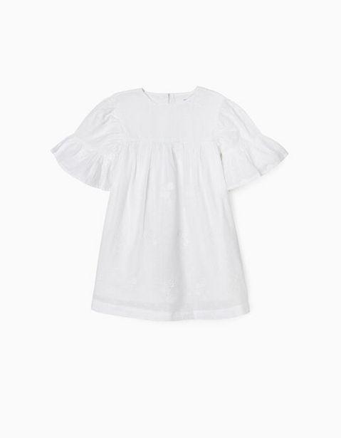Oferta de Vestido con Bordados para Niña, Blanco por 29,99€