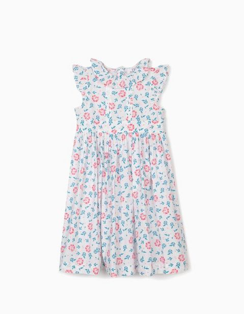 Oferta de Vestido de Flores para Niña, Blanco por 9,99€