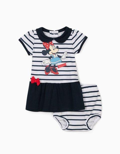 Oferta de Vestido y Cubrepañal para Recién Nacida 'Minnie', Blanco y Azul por 7,99€