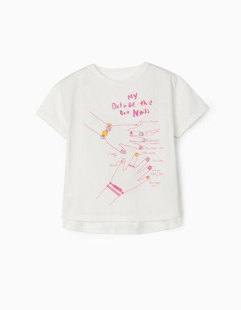 Oferta de Camiseta para Niña 'Fashion Nails', Blanca por 7,99€