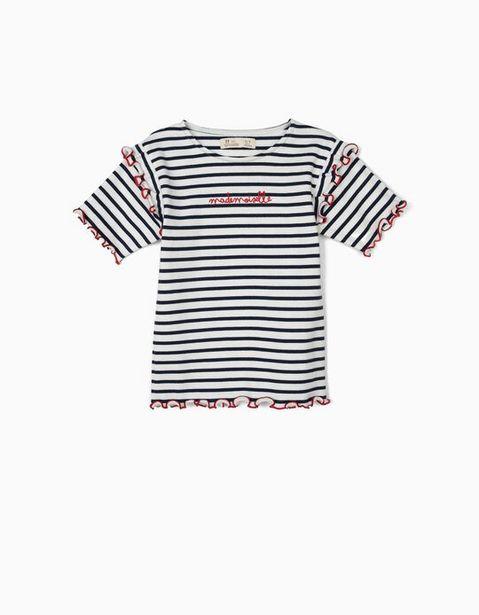 Oferta de Camiseta de Canalé para Niña 'Mademoiselle', Azul y Blanco por 5,99€