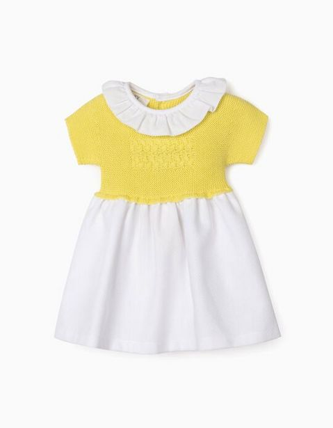 Oferta de Vestido de Dos Materias para Recién Nacida, Amarillo/Blanco por 9,99€