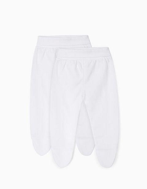 Oferta de Pack 2 Pantalones con Pies para Recién Nacido, Blanco por 7,99€
