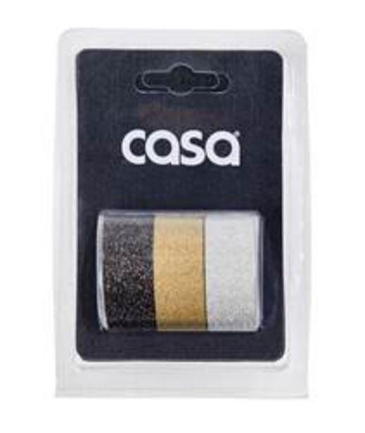 Oferta de GLITTER Cinta adhesiva juego de 3 3 colores gris, dorado, plateado An. 1,5 x L 300 cm por 1,5€