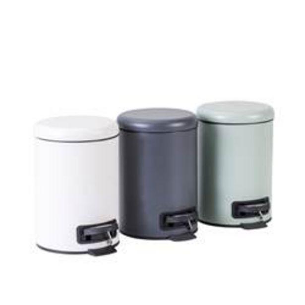 Oferta de HAMAM Cubo con pedal 3L 3 colores blanco, gris, menta A 25 x P 22,5 cm; Ø 17 cm por 11,95€