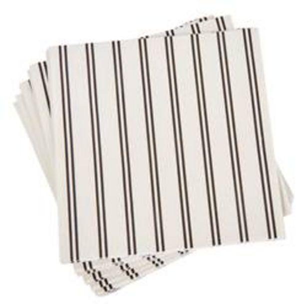Oferta de STRIBE Paquete de 20 servilletas negro, blanco An. 33 x L 33 cm por 0,58€