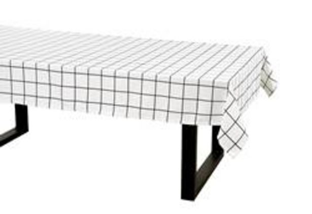 Oferta de CHECKERS Mantel negro, blanco An. 140 x L 250 cm por 8,98€