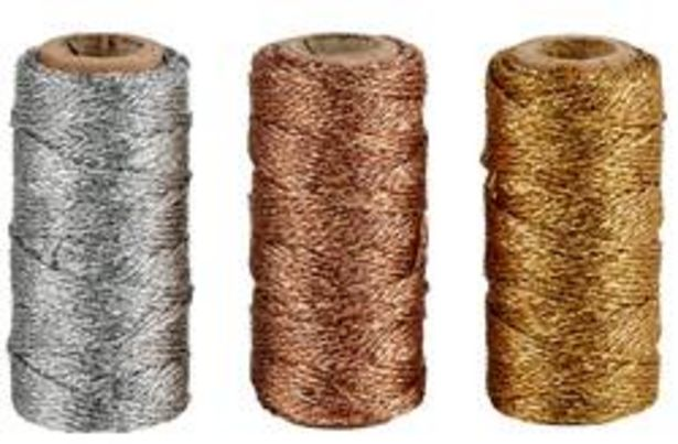 Oferta de FLASHY Cuerda brillante 3 colores dorado, plateado, cobrizo L 2500 cm por 2,95€