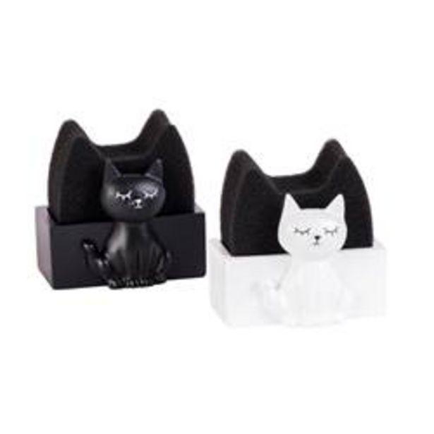 Oferta de CRAZY CAT Esponja y soporte 2 colores negro, blanco A 6,5 x An. 8 x P 5,5 cm por 1,34€