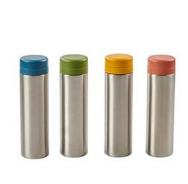 Oferta de BEANS&MORE Botella para té isotérmico 4 colores verde, azul, ocre, . A 20 cm; Ø 5,5 cm por 13,99€