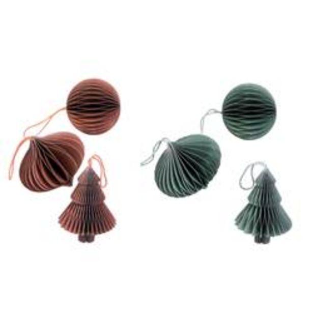Oferta de ORIGAMI Decoración para colgar 3 modelos 2 colores naranja, verde claro por 1€