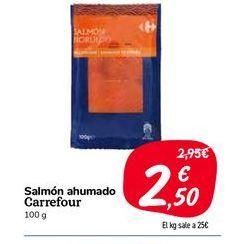 Oferta de Salmón ahumado carrefour, 100 g por 2,5€