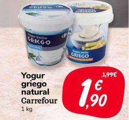Oferta de Yogur griego natural carrefour, 1 kg por 1,9€