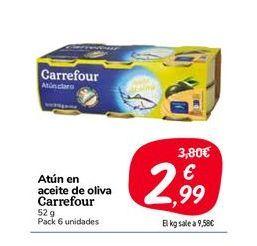 Oferta de Atún en aceite de oliva carrefour, 52 g, pack 6 uds. por 2,99€