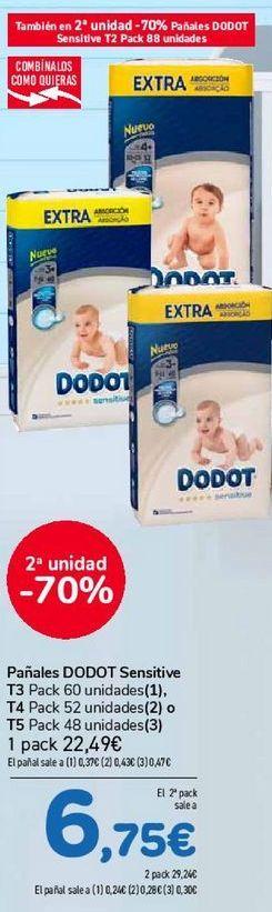 Oferta de Pañales DODOT Sensitive  por 7,3€