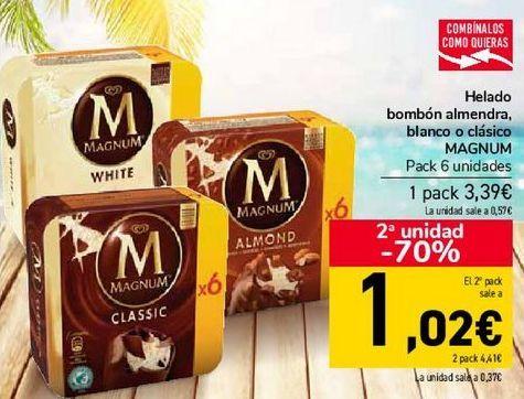 Oferta de Helado bombón almendra, blanco o clásico MAGNUM por 3,39€