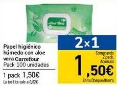 Oferta de Papel higiénico húmedo con aloe vera Carrefour  por 1,5€