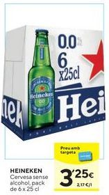 Oferta de Cerveza sin alcohol Heineken por 3,25€