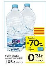 Oferta de Agua Font Vella por 1,05€