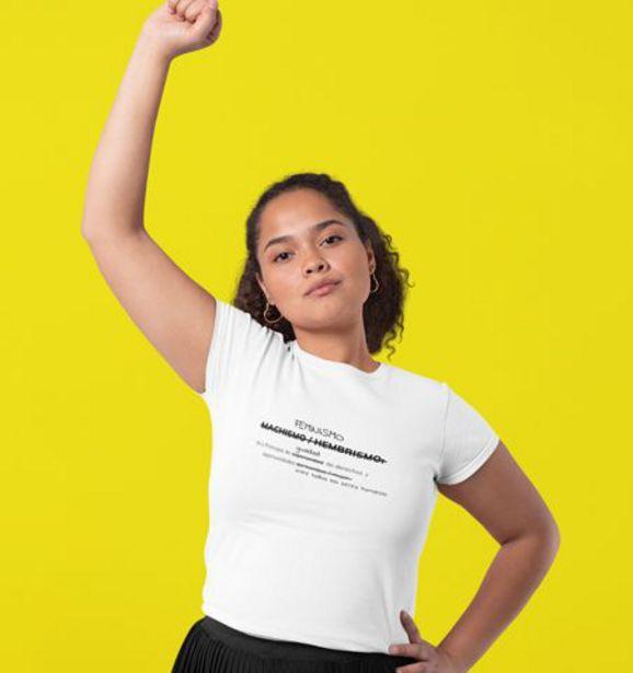 Oferta de Camiseta M Blanca Feminista Negro por 19€