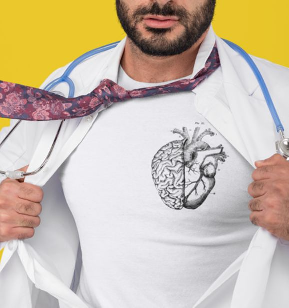 Oferta de Camiseta H Blanca Heart/Brain Negro por 19€
