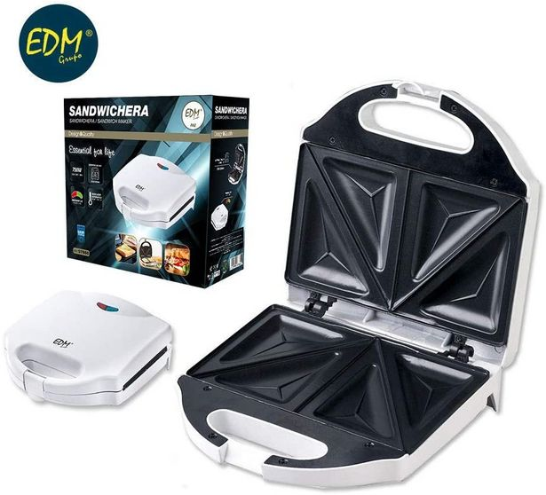 Oferta de SANDWICHERA DOBLE 750W EDM 215X125MM por 14,9€