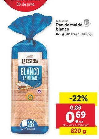 Oferta de Pan de molde La Cestera por 0,69€