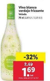 Oferta de Vino blanco verdejo frizzante Velada por 1,69€