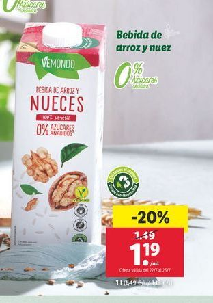 Oferta de Bebida de arroz Vemond por 1,19€