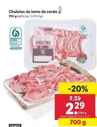 Oferta de Chuletas de lomo de cerdo por 2,29€