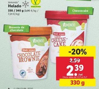 Oferta de Helado vegano Vemondo por 2,39€