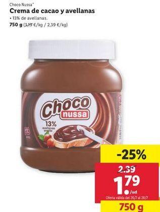 Oferta de Crema de cacao Choco Nussa por 1,79€