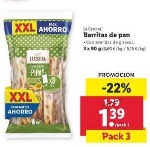 Oferta de Barritas de pan La Cestera por 1,39€