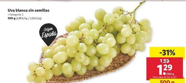 Oferta de Uva blanca sin semillas por 1,29€
