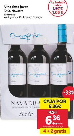 Oferta de Vino tinto joven D.O. Navarra por 6,36€