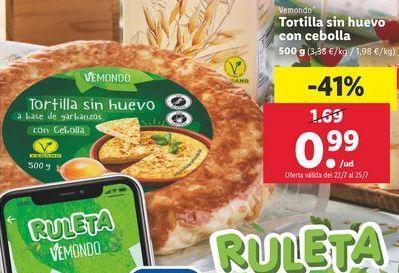 Oferta de Tortilla sin huevo con cebolla por 0,99€