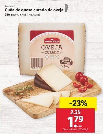 Oferta de Cuña de queso curado de oveja Roncero por 1,79€