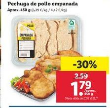 Oferta de Pechuga de pollo empanada por 1,79€