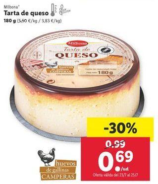 Oferta de Tarta de queso Milbona por 0,69€