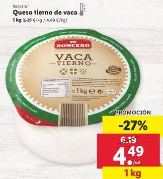 Oferta de Queso tierno Roncero por 4,49€