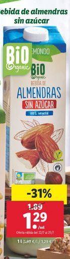 Oferta de Leche de almendras sin azúcar Vemond por 1,29€