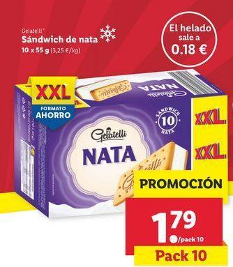 Oferta de Sándwich de nata Gelatelli por 1,79€