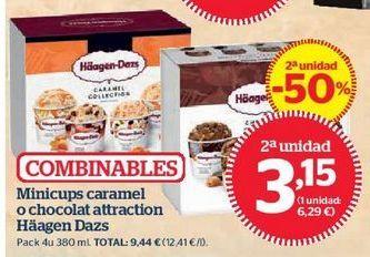 Oferta de Minicups caramel o chocolat attraction Häagen Dazs por 3,15€