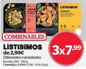 Oferta de LISTÍSIMOS DE 2,99€ diferentes variedades por
