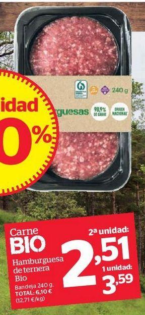 Oferta de Hamburguesa de ternera Bio por 2,51€